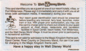 Walt Disney World Guest Card (back)